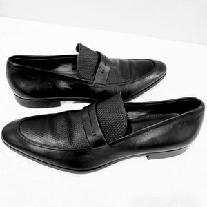 Hugo Boss ITALY Black Leather Loafers Dress Shoes